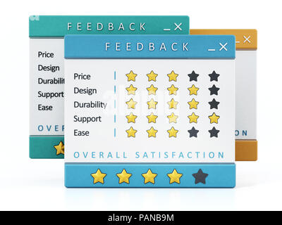 Customer satisfaction surveys isolated on white background. 3D illustration. - Stock Photo