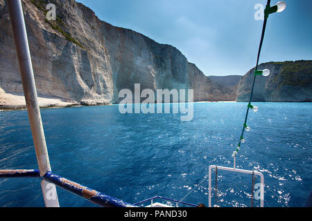 Amazing landscape of Navagio beach with shipwreck on Zakynthos island, view from the cruise ship. Greece - Stock Photo