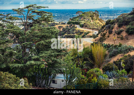 Runyon Canyon Park in Hollywood, Los Angeles. One of the most famous hikes in the heart of the movie industry with the gorgeous overlook to downtown - Stock Photo