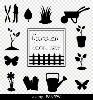 Black silhouettes of vector garden icon illustrations, signs, templates for design. Gardening icon set isolated on transparent background. - Stock Photo