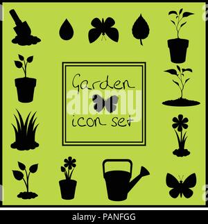 Black silhouettes of garden icons set isolated on green background . Vector illustrations, icons, signs, templates for design. - Stock Photo