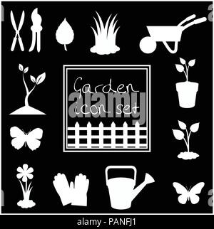 White silhouettes of garden icons set isolated on black background. Vector illustrations, icons, signs, templates for design. - Stock Photo