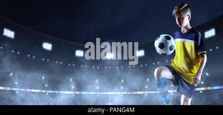 Young soccer player in unbranded cloth on the 3D soccer stadium. Crowd and stadium made in 3D - Stock Photo
