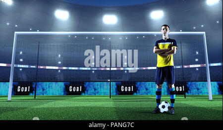 Young soccer player with ball in front of the goal on a professional 3D stadium - Stock Photo