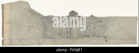 Design for a Stage Set at the Opéra, Paris. Artist: Eugène Cicéri (French, Paris 1813-1890 Fontainebleau). Dimensions: Irregular sheet: 6 x 18 in. (15.2 x 45.7 cm). Date: 1830-90. Museum: Metropolitan Museum of Art, New York, USA. - Stock Photo