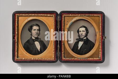 [Double Plate: Two Men with Sideburns]. Artist: Possibly by John Adams Whipple (American, 1822-1891). Dimensions: Image: 6.5 x 5.3 cm (2 9/16 x 2 1/16 in.), each  Plate: 8.3 x 7 cm (3 1/4 x 2 3/4 in.), each  Case: 1.9 x 9.5 x 8.3 cm (3/4 x 3 3/4 x 3 1/4 in.). Date: 1850s. Museum: Metropolitan Museum of Art, New York, USA. - Stock Photo
