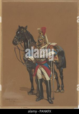 Cuirassier. Dimensions: Sheet: 10 1/8 x 7 in. (25.7 x 17.8cm). Draftsman: Édouard Detaille (French, Paris 1848-1912 Paris). Date: 1872. Museum: Metropolitan Museum of Art, New York, USA. - Stock Photo