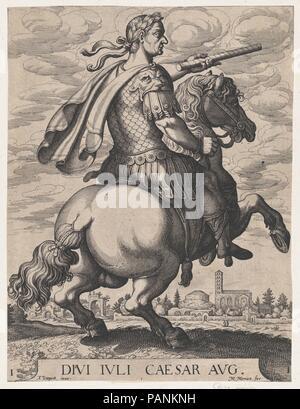 Plate 1: Emperor Julius Caesar on Horseback, from ' The First Twelve Roman Caesars', after Tempesta. Artist: Matthäus Merian the Elder (Swiss, Basel 1593-1650 Schwalbach); After Antonio Tempesta (Italian, Florence 1555-1630 Rome). Dimensions: Sheet: 11 13/16 × 8 7/8 in. (30 × 22.5 cm). Date: 1610-50. Museum: Metropolitan Museum of Art, New York, USA. - Stock Photo