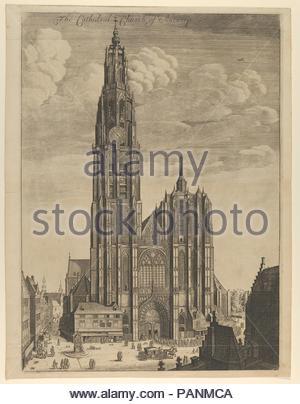 Antwerp Cathedral (Prospectvs Tvrris Ecclesiæ Cathedralis). Artist: Wenceslaus Hollar (Bohemian, Prague 1607-1677 London). Dimensions: Sheet: 18 3/4 x 14 5/16 in. (47.6 x 36.4 cm)  Plate: 18 1/16 x 13 3/16 in. (45.9 x 33.5 cm). Date: 1649. Museum: Metropolitan Museum of Art, New York, USA. - Stock Photo