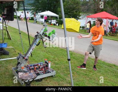The Tigertrons Robotics Team demonstrate fun robotics at the 14th Annual Tunkhannock River Day 2018 at Riverside Park Tunkhannock  Pennsylvania USA - Stock Photo