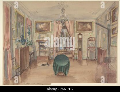 drawing of an interior salle manger artist anonymous french 19th