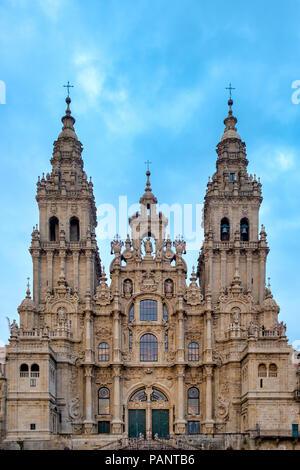 View of the Santiago de Compostela Cathedral, Santiago de Compostela, Galicia, Spain - Stock Photo