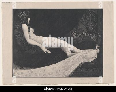 Odalisque. Artist: Henry Weston Keen (British, 1899-1935 Walberswick, Suffolk). Dimensions: Image: 9 5/16 × 12 5/16 in. (23.7 × 31.2 cm)  Sheet: 11 1/4 × 15 3/16 in. (28.5 × 38.5 cm). Date: 1925-30.  Keen worked as a printmaker and illustrator in the 1920s and 1930s, creating unsettling symbolist images reminiscent of Aubrey Beardsley. Two significant commissions were designs for luxury editions published by The Bodley Head-a firm that had launched Beardsley in the 1890s-Oscar Wilde's 'Picture of Dorian Gray' (1925) and John Webster's 'The White Devil and The Duchess of Malfi' (1930). After Ke - Stock Photo