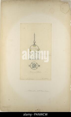 Design for hanging lantern. Artist: Louis Comfort Tiffany (American, New York 1848-1933 New York). Culture: American. Dimensions: Overall: 20 1/16 x 14 1/16 in. (51 x 35.7 cm)  Other (Design): 9 3/8 x 6 11/16 in. (23.8 x 17 cm). Maker: Possibly Tiffany Glass and Decorating Company (American, 1892-1902); Possibly Tiffany Studios (1902-32); Possibly Tiffany Glass Company (1885-92). Date: late 19th-early 20th century. Museum: Metropolitan Museum of Art, New York, USA. - Stock Photo