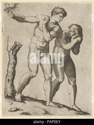 Adam and Eve being expelled from paradise. Artist: Marcantonio Raimondi (Italian, Argini (?) ca. 1480-before 1534 Bologna (?)); After Michelangelo Buonarroti (Italian, Caprese 1475-1564 Rome). Dimensions: 7 1/2 x 5 9/16 in.  (19.0 x 14.1 cm). Date: ca. 1515-25. Museum: Metropolitan Museum of Art, New York, USA. - Stock Photo