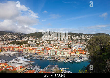 France, Provence-Alpes-Cote d'Azur, Nice, Cityscape and Port Lympia from above - Stock Photo