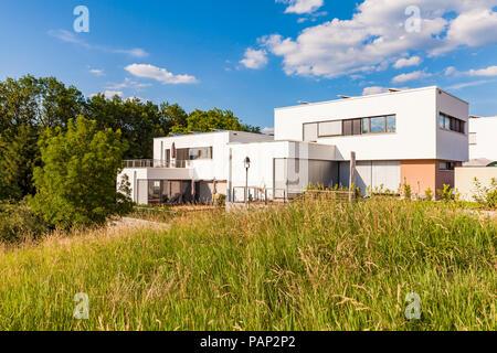 Germany, Esslingen-Zell, development area with passive house - Stock Photo