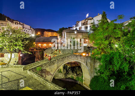 Bosnia-Herzegovina, Mostar, old town, bridge at blue hour - Stock Photo