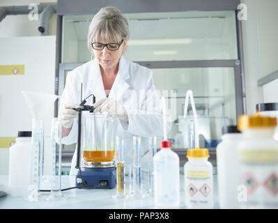 Female chemist working in chemical laboratory - Stock Photo