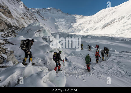 Nepal, Solo Khumbu, Everest, Sagamartha National Park, Mountaineers at Western Cwm - Stock Photo