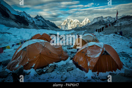 Nepal, Solo Khumbu, Everest, Sagamartha National Park, Tents at the Base camp - Stock Photo
