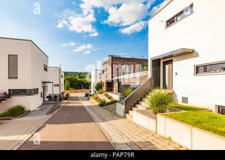 Germany, Esslingen-Zell, development area with passive houses - Stock Photo