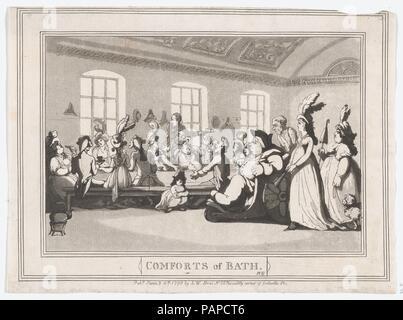 Comforts of Bath, Plate 11. Artist: Thomas Rowlandson (British, London 1757-1827 London). Dimensions: Sheet: 7 1/8 × 9 11/16 in. (18.1 × 24.6 cm). Publisher: Samuel William Fores (British, 1761-1838). Date: January 6, 1798. Museum: Metropolitan Museum of Art, New York, USA. - Stock Photo