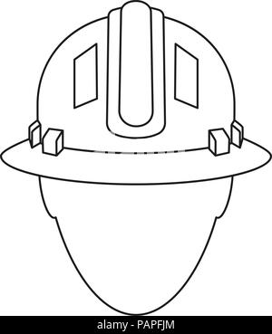 Line art black white construction worker avatar - Stock Photo