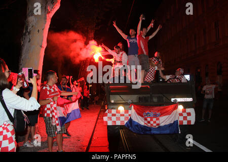 ZAGREB, CROATIA - JULY 15 Croatian football fans after the match of France vs Croatia 2018 FIFA WORLD CUP RUSSIA, celebrate winning 2nd place on July  - Stock Photo