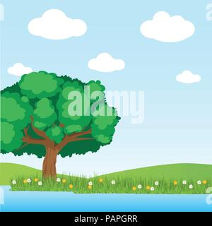 Greenery Tree and lake scene in the field on blu sky background with cloud - Vector Illustration vector. - Stock Photo