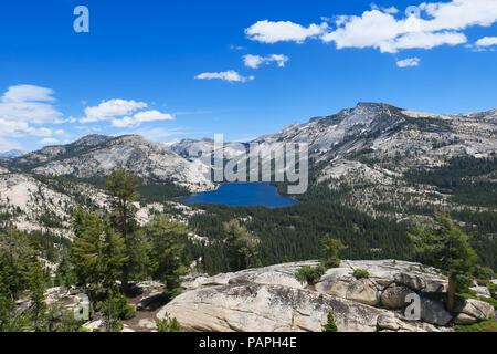 Tenaya Lake and Alpine Landscape, from above at Olmsted Point - Yosemite National Park - Stock Photo