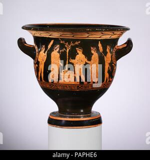 Terracotta bell-krater (bowl for mixing wine and water). Culture: Greek, Attic. Dimensions: H. 12 5/8 in. (32.1 cm)  diameter  13 3/8 in. (33.9 cm)  width with handles  14 5/16 in. (36.3 cm). Date: late 5th century B.C..  Obverse, sacrifice at an altar  Reverse,  three youths  The altar is stacked with wood to burn the meat offering, prepared on skewers and being carried by attendants on either side. The other two attendants carry a tray and a basket. The recipient of the sacrifice is not identified. The laurel tree behind the altar might indicate Apollo. Museum: Metropolitan Museum of Art, Ne - Stock Photo