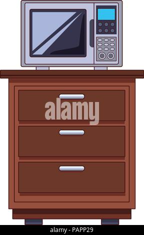 Microwave on cabinet - Stock Photo