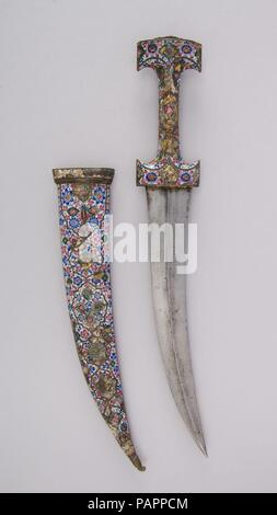 Dagger (Jambiya) with Sheath. Culture: Persian, Qajar. Dimensions: H. with sheath 19 5/16 in. (49.1 cm); H. without sheath 17 13/16 in. (45 cm); H. of blade 11 1/2 in. (29.2 cm); W. 2 11/16 in. (6.8 cm); Wt. 1 lb. 3 oz. (538.6 g); Wt. of sheath 11.6 oz. (328.9 g). Date: early 19th century. Museum: Metropolitan Museum of Art, New York, USA. - Stock Photo