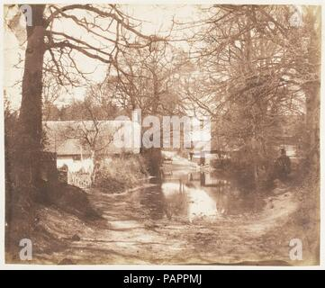 [View of a House in the Woods, with a Waterlogged Road]. Artist: John Dillwyn Llewelyn (British, Swansea, Wales 1810-1882 Swansea, Wales). Dimensions: Image: 18.5 × 22.3 cm (7 5/16 × 8 3/4 in.). Date: 1853-56. Museum: Metropolitan Museum of Art, New York, USA. - Stock Photo