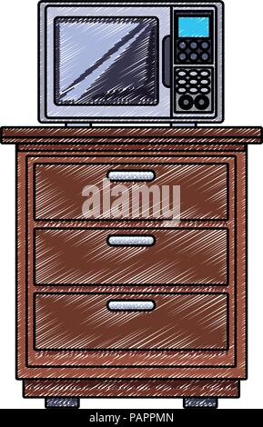 Microwave on cabinet scribble - Stock Photo