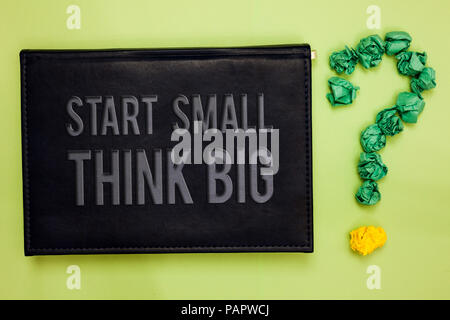 Word writing text Start Small Think Big. Business concept for Initiate with few things have something great in mind Green back black plank with text g - Stock Photo