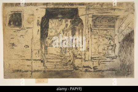 Fish Shop, Venice. Artist: James McNeill Whistler (American, Lowell, Massachusetts 1834-1903 London). Dimensions: Plate: 5 × 8 11/16 in. (12.7 × 22.1 cm)  Sheet: 5 in. × 8 11/16 in. (12.7 × 22.1 cm). Date: 1879-80. Museum: Metropolitan Museum of Art, New York, USA. - Stock Photo