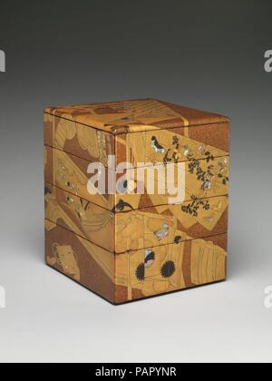 Stacked Food Box (Jubako) with 'Whose Sleeves?' (Tagasode) Design. Culture: Japan. Dimensions: H. 10 5/8 in. (27 cm); W. 8 7/8 in. (22.5 cm); L. 8 1/4 in. (21 cm). Date: 18th century.  The design of this elegant food box, created for a celebratory meal such as a New Year's feast, features kimono racks with draped-over kimonos and accessories, such as amulets, perfume bags, and even an inro (portable medicine case for men). This composition, known as 'Whose Sleeves?' (Tagasode), was a popular pictorial subject represented on Momoyama- (1573-1615) and Edo-period folding screens as well as on dec - Stock Photo