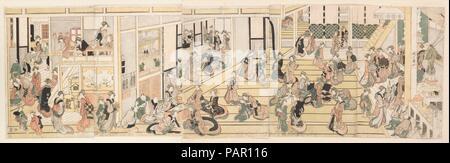 New Year's Day at the Ogiya Brothel, Yoshiwara. Artist: Katsushika Hokusai (Japanese, Tokyo (Edo) 1760-1849 Tokyo (Edo)). Culture: Japan. Dimensions: Oban, pentaptych: 14 15/32 x 48 1/2 in. (36.8 x 123.2 cm). Date: ca. 1804. Museum: Metropolitan Museum of Art, New York, USA. - Stock Photo