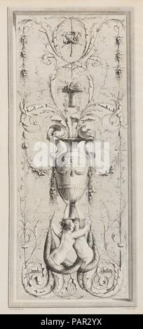 Recueil d'Ornemens A l'Usage des Jeunes Artistes qui se destinent à la décoration des bâtimens. Artist and publisher: Gilles Paul Cauvet (French, Aix 1731-1788 Paris). Dedicatee: Dedicated to Louis Stanislas Xavier de Bourbon (French, Versailles 1755-1824 Paris). Dimensions: 21 7/8 x 16 1/8 x 1 3/16 in. (55.5 x 41 x 3 cm). Engraver: Engraved by J. Le Roy (French); Engraved by Pietro Antonio Martini (Italian, Trescali 1738-1797 Parma); Engraved by Petit (French); Engraved by Pierre Viel (French, Paris 1755-1810 Paris); Engraved by Mme. Darby (French). Etcher: Etched by Simon Charles Miger (Fren - Stock Photo