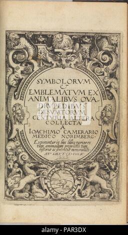 I) Symbolarum et Emblematum ex Aquatilibus et Reptilibus Desumptorum. Centuria Quarta. (1604). Artist: Johann Siebmacher (German, died 1611). Author: Written by Joachim Camerarius the Younger (German, 1534-1598). Dimensions: 7 9/16 x 5 11/16 x 1 3/4 in.  (19.2 x 14.5 x 4.5 cm). Printer: Printed by ? Vögelin. Date: 1590-1605. Museum: Metropolitan Museum of Art, New York, USA. - Stock Photo