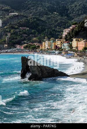 Beach and charming village of Monterosso al Mare, Cinque Terre, Italy - Stock Photo