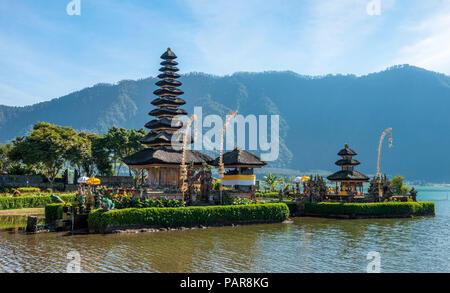 Buddhist water temple Pura Ulun Danu Bratan, Lake Bratan, Bali, Indonesia - Stock Photo