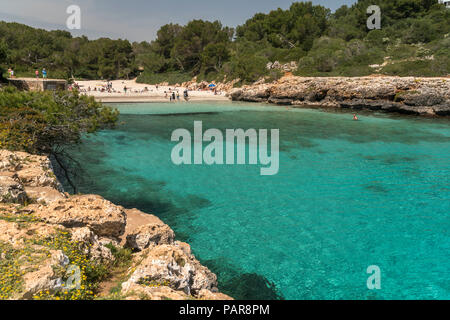 Spain, Balearic Islands, Mallorca, Felanitx, Cala Sa Nau - Stock Photo