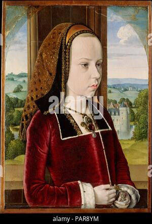 Margaret of Austria. Artist: Jean Hey (called Master of Moulins) (Netherlandish, active fourth quarter 15th century). Dimensions: 12 7/8 x 9 1/8 in. (32.7 x 23 cm). Date: ca. 1490.  The daughter of Emperor Maximilian I, Margaret of Austria was betrothed at the age of three to the infant dauphin Charles, the future Charles VIII, and served briefly as 'queen of France' from 1483 to 1491. She is shown here around the age of ten, one year before she was repudiated by her intended husband. The initials C and M within the border of Margaret's collar (backwards C in the left border) probably signify  - Stock Photo