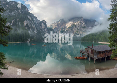 Italy, South Tyrol, Dolomites, Lago di Braies, Fanes-Sennes-Prags Nature Park - Stock Photo