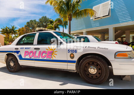 Key West Police Car in Little Torch Key, Florida Keys, Florida, USA, The tagline on the car says 'Protecting & Serving Paradise.' - Stock Photo