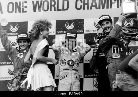 Podium, 1st Nigel Mansell (Williams Honda), 2nd Keke Rosberg (Williams Honda),3rd Alain Prost (Mc Laren Tag) , F1,  GP,South Africa GP, Kyalami, 1985 - Stock Photo