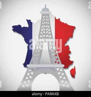 eiffel tower over france map and white background, colorful design. vector illustration - Stock Photo